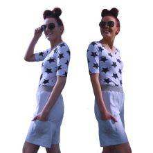 Linen, drop waist shorts with pockets